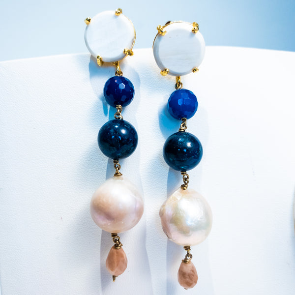 Amle Pearl Blue Drop Earrings