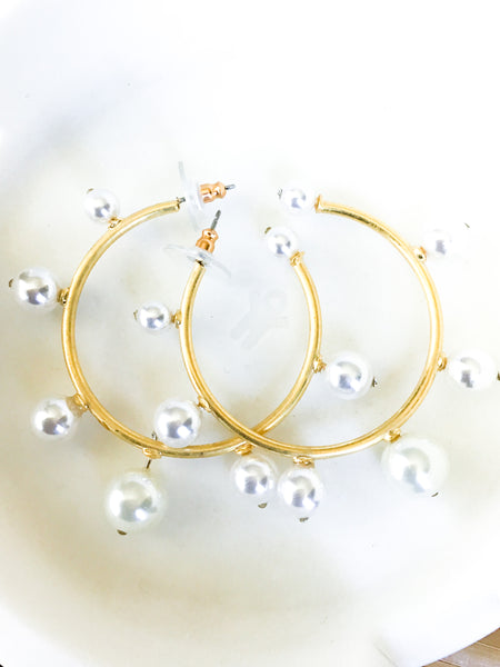 Golden Hoop Pearl Earrings