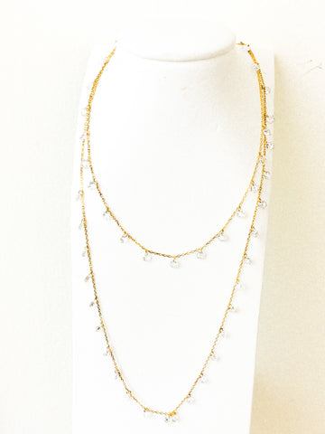 Crystal necklace double strand