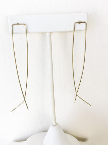 Brass Square Oval Earrings