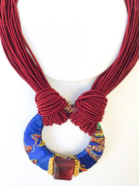 Red Silk Tapestry Necklace