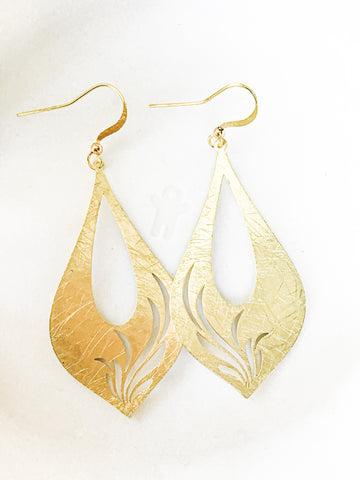 Carved gold leaf Earrings