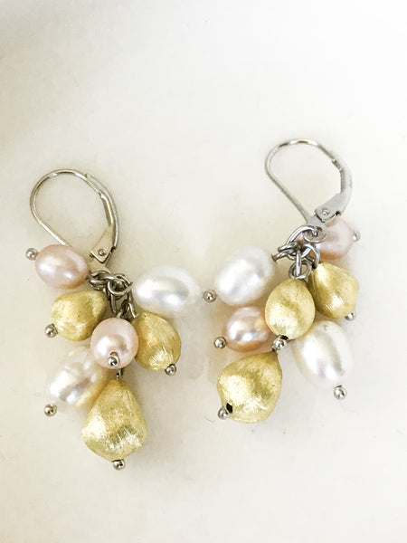 Pearl and Gold ball Earrings