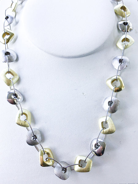 Organic gold link silver necklace