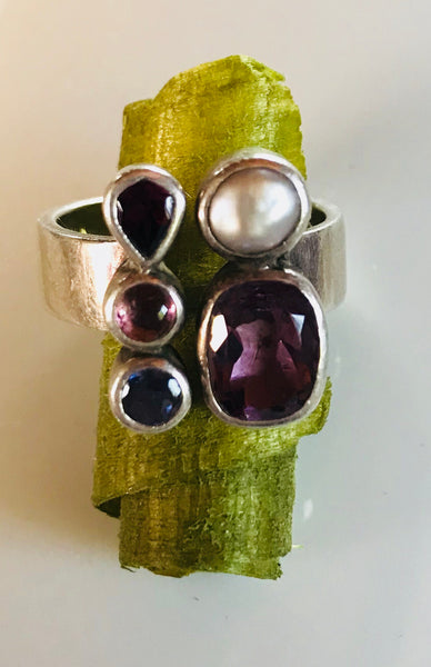 Amethyst pearl ruby ring