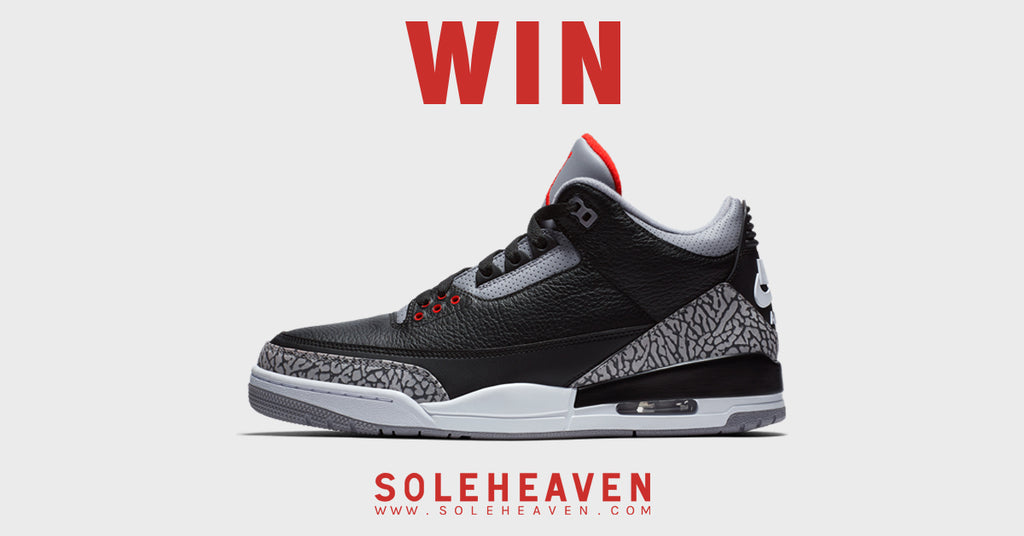 Win a pair of the Air Jordan 3 Retro OG 'Black Cement' only at Soleheaven