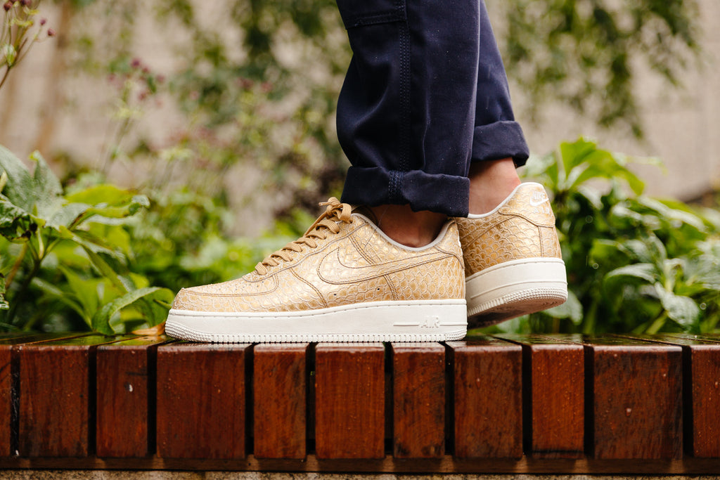 Air Force 1 '07 LV8 Gold 'Snakeskin' available now with Soleheaven
