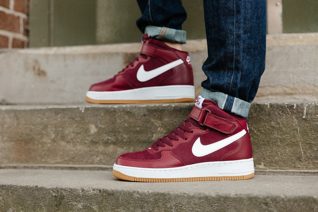 hot sales df4e3 2f8a4 Best Sell Nike Air Force 1 Mid 07 Team Red White Gum Bottom 315123 608 Mens  Burgundy Season Is In Full Swing ...