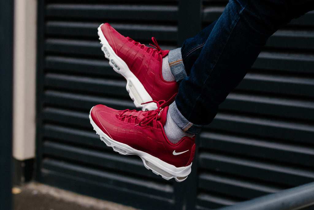Nike Air Max 95 Ultra Essential in Gym Red / White available now on Sale at Soleheaven