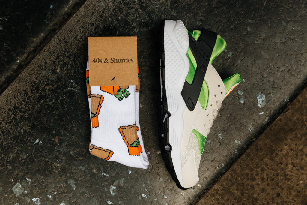 'Action Green' Huarache and 'Money Box' sock available now.