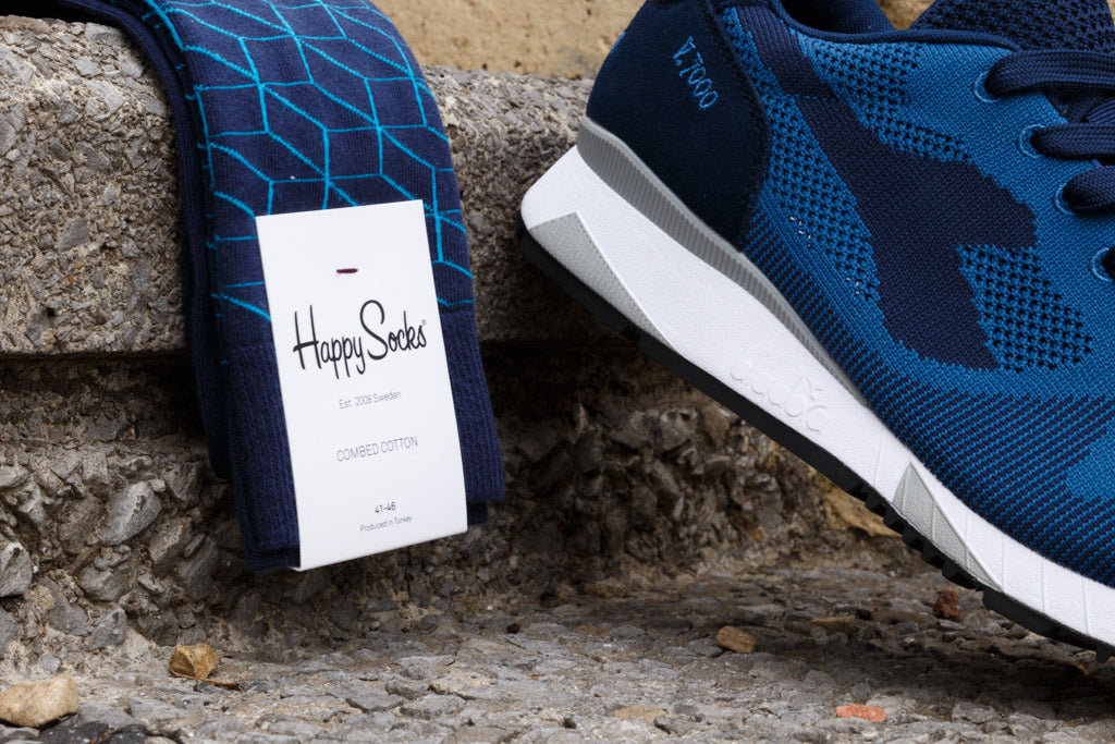 Diadora Woven Navy Optics Happy Sock