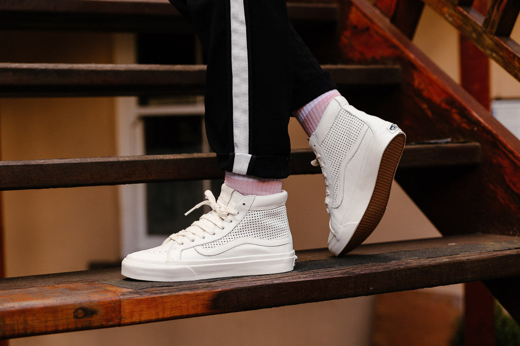 Vans Sk8-Hi Slim Perforated in Blanc/Blanc available now at Soleheaven