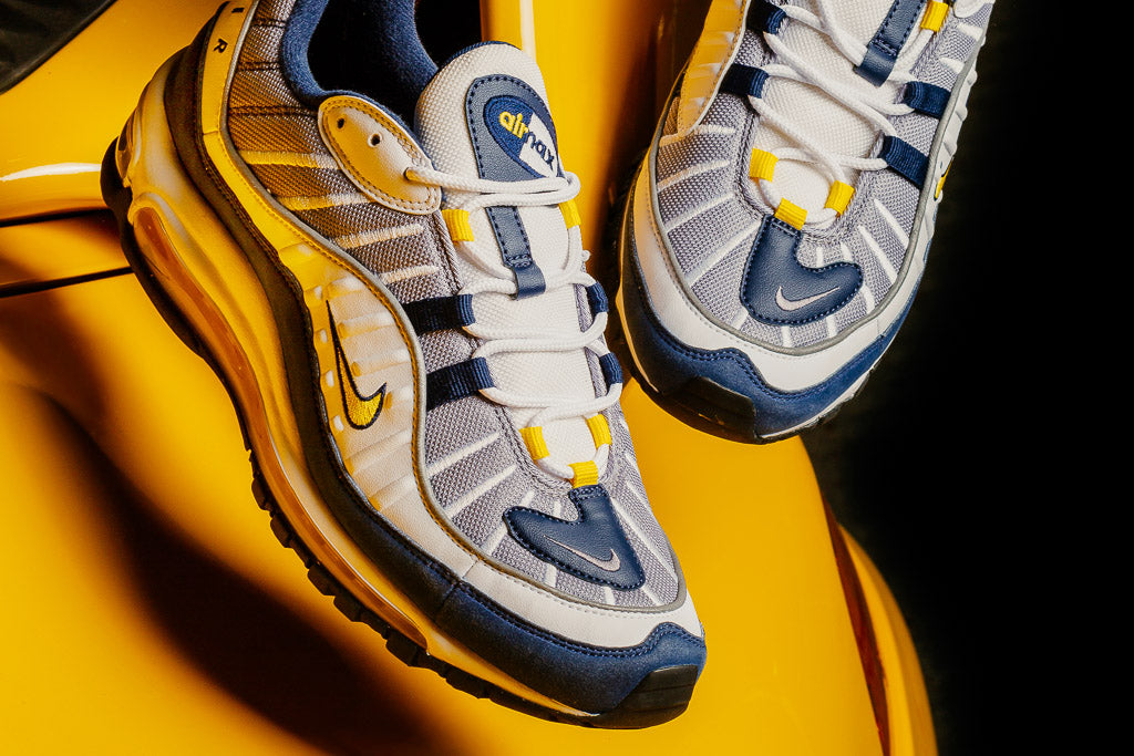 Nike Air Max 98 'Tour Yellow' available at Soleheaven