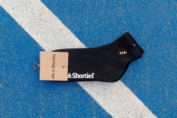 40s & Shorties Half Sock 2 Pack Black HLFSB17
