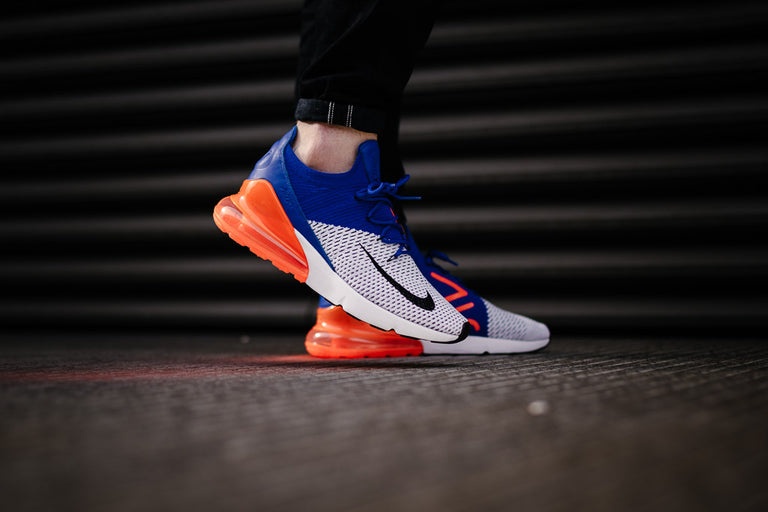 Shoes Men Nike Air Max 270 Flyknit AO1023 101 (White, Navy