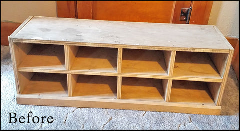 Before picture: wood cubby shelf