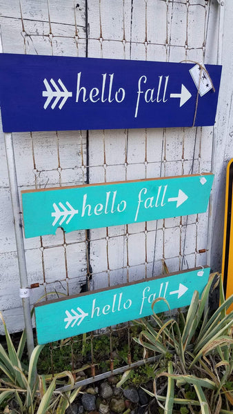 Hello Fall Painted Sign on Reclaimed Barn Wood