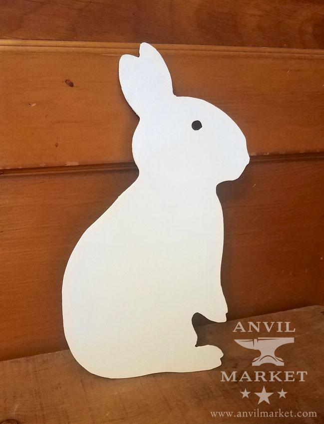 Large Metal Bunny - Home Decor for Shelf/Wall - Spring/Summer/Easter (Painted White)