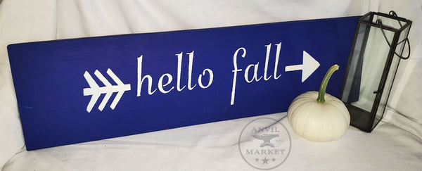 Wood Sign: Hello Fall (Navy Blue)