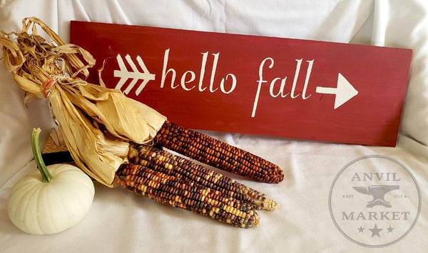 Wood Sign: Hello Fall (Red)