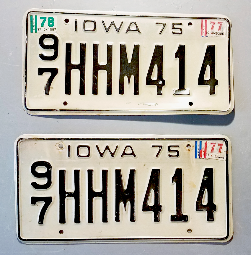 Iowa Plate Set 1975 (HHM414)