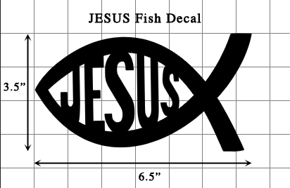 JESUS Fish Decal (Free Shipping) - Large