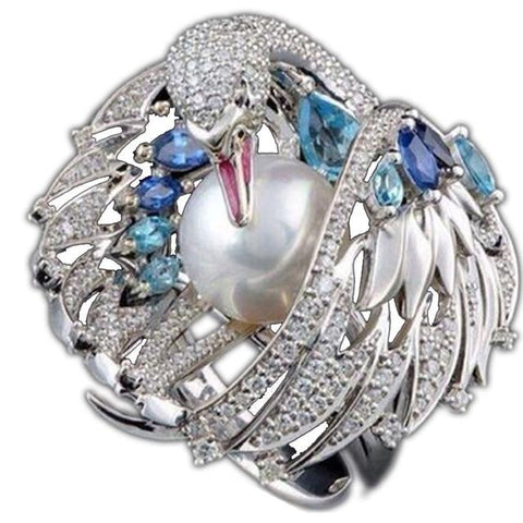 Free Swan Crystal Ring