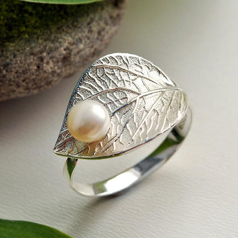 Water drop on a Leaf Sterling Silver Ring