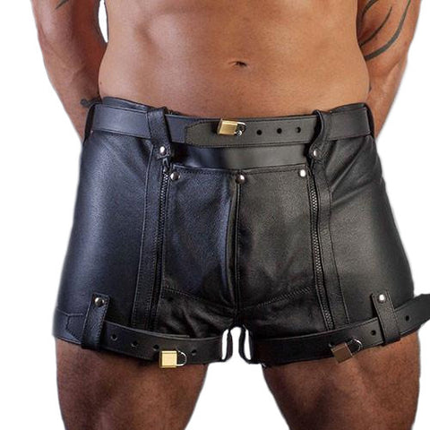 Lockable Security Leather Shorts