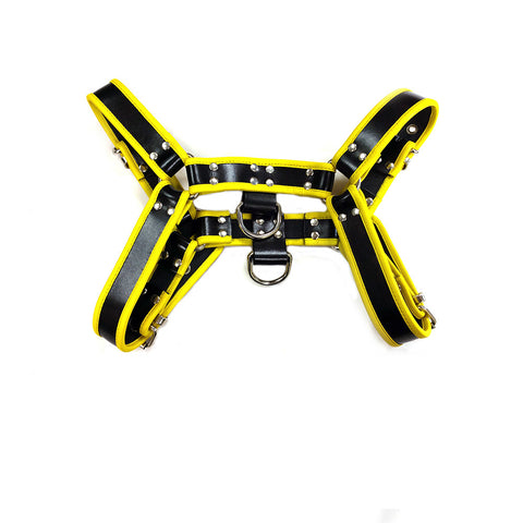 OT Leather Chest Harness (Black with Yellow Trim)