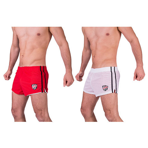 Barcode Benito Reversible Shorts (Red & White)