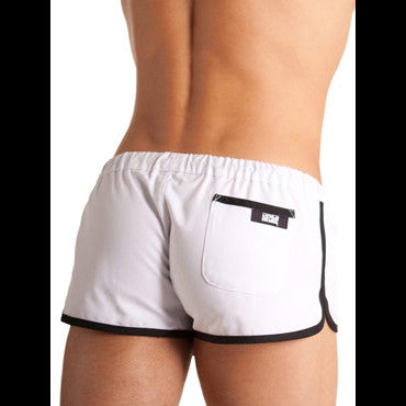 Barcode Gym Shorts (White with Black Trim)