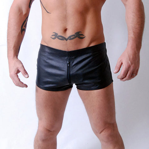 Leather Shorts with All Round Zip