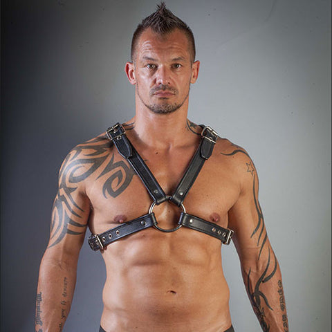 Black Leather Chest Harness