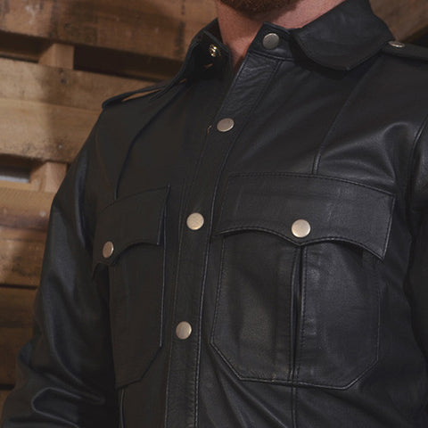 Long Sleeved Black Leather Shirt