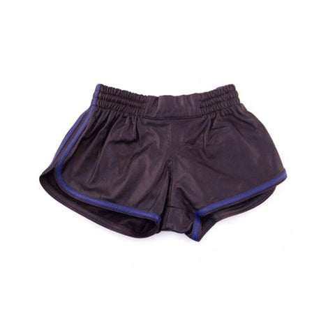 Leather Sports Shorts (Black with Blue Trim)
