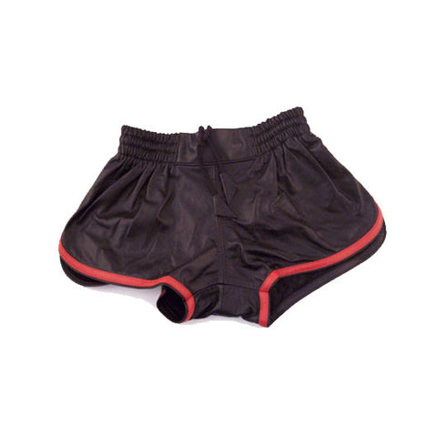 Leather Sports Shorts (Black with Red Trim)