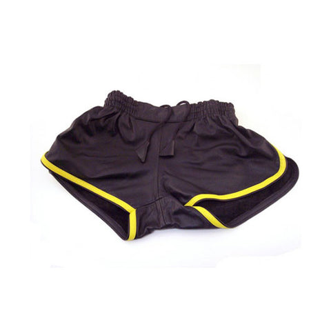 Leather Sports Shorts (Black with Yellow Trim)