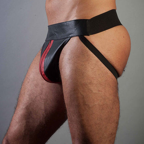 Black Leather Tom Jock with Red Trim & Zip Fly
