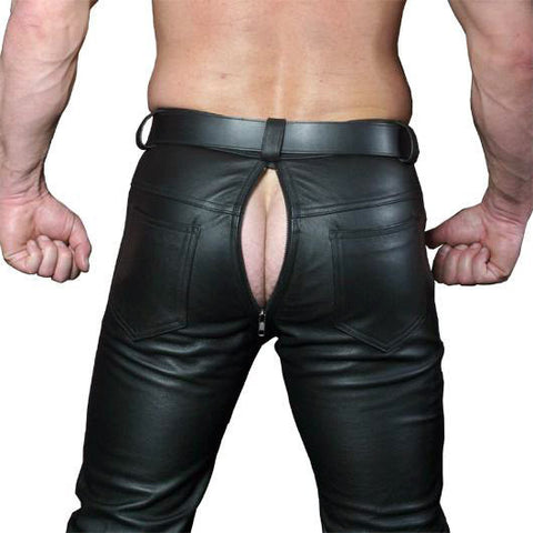Rear-zip Leather Jeans