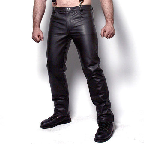 Black Leather Jeans with Zip Fly