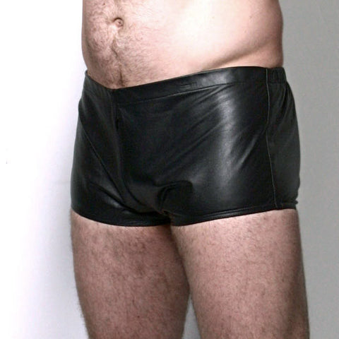 Black Leather Micro Shorts with Zip Fly