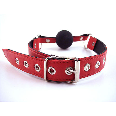 Leather Ball Gag (Black & Red)