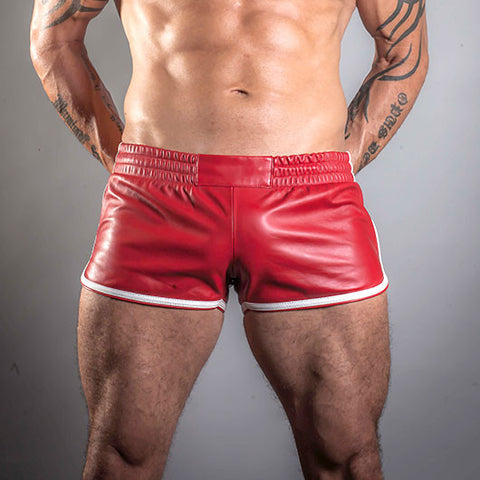 Leather Sports Shorts (Red with White Trim)