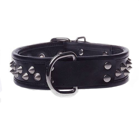 Black Leather Studded Collar