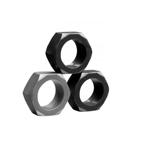 Tom of Finland 3 Piece Hex-Nut Cock Ring Set