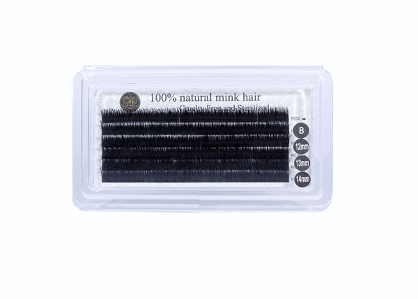 100% Natural Mink Hair - Mixed Tray B Curl - 12mm, 13mm & 14mm