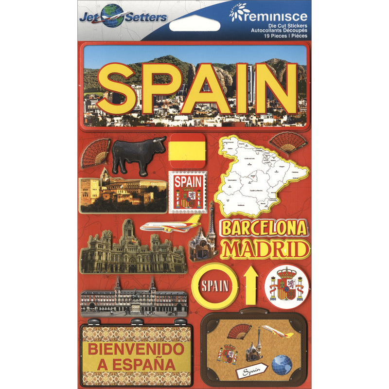 "Reminisce Jet Setters Country Dimensional Stickers 4.5""X7.5""-Spain"