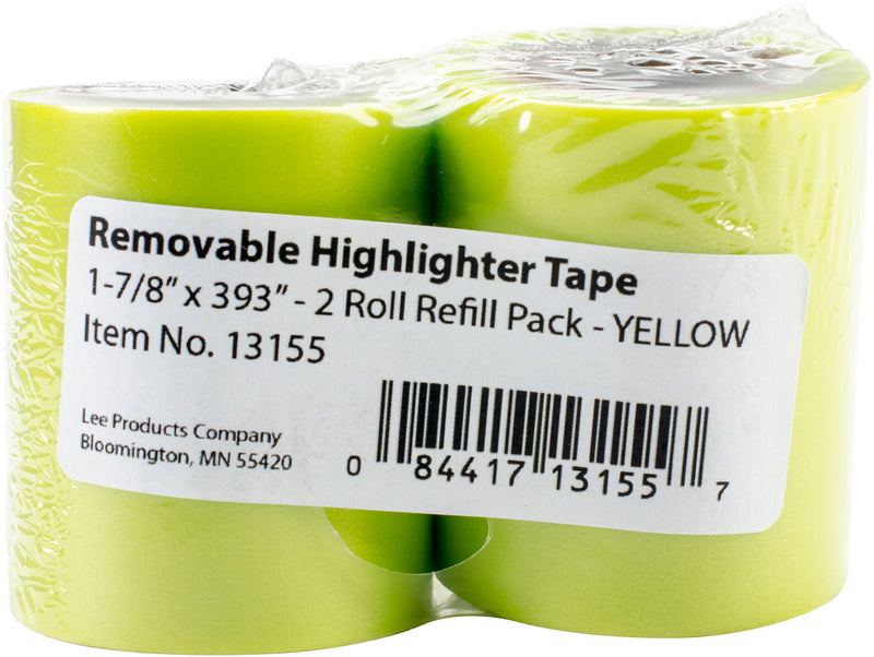 "Lee Products Removable Highlighter Tape 1-7/8""X393"" 2/Pkg-Yellow - Pens N More"