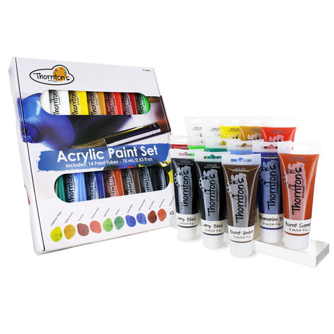 Thornton's Art Supply Acrylic Paint Tubes, Assorted Colors, 75ml (2.53oz), Set of 14